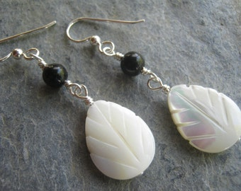 Mother of Pearl Earrings, Sterling Silver, Black Agate Earrings, Shell Earrings, Teardrop Earrings, Dangle Drop, Beach, READY To SHIP