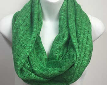 Kelly green sweater knit infinity scarf