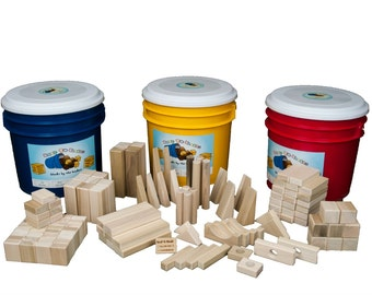 Wooden Blocks For Children-120 Piece Block Set In Bright Colored Storage Bucket-Free Shipping To U.S.