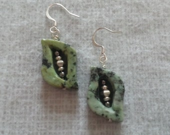 African Turquoise Leaf Shaped earrings