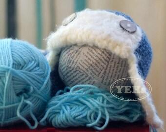 Baby Aviator Hat, Blue Aviator Baby Hat with Buttons, Baby Pilot Hat, Infant Aviator Hat, Baby Pilot Hat, Newborn Photo Prop, Toddler Pilot