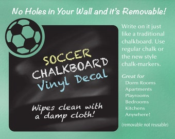 Chalkboard Decal: Soccer Sports Decor Chalk Board, Dorm Room Decor, Bedroom Decor
