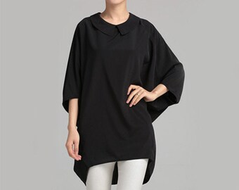 Chiffon Shirt White Blouse Black Blouse Cute Blouse Batwing Sleeve Shirt #B04