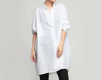 White Blouse Black Blouse Long Shirt Cotton Shirt Boyfriend Shirt #B01