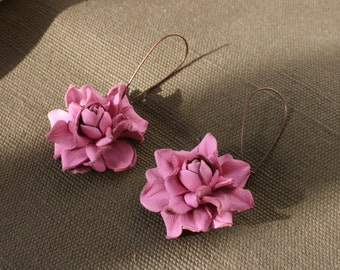 Pink rose leather earrings