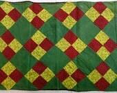 Antique Pennsylvania patchwork pillowcase, 1870, four-patch quilt design