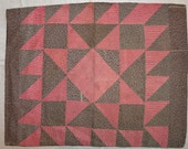 Antique Pennsylvania patchwork pillowcase, 1870, giant variable star pattern