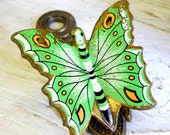 Vintage 1960's Danish Modern Enamel Painted Butterfly Allied Brass Desk Letter Wall Paper Clip Mid Century Retro Office