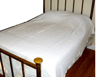 Antique 19thC French Country Marseille White on White Botanical Polka Dot Bedspread Coverlet Cotton Vintage 1890s Bedspread Farmhouse Spread
