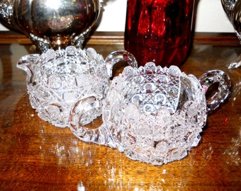 Ornate American Victorian Antique Vintage 1880's Brilliant Period Cut Glass Sugar and Creamer Elegant French Country Cottage Table Setting
