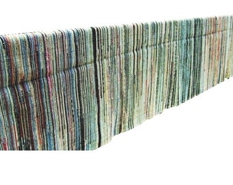 Spectacular 12' Large Cotton Rag Rug Runner Early American Antique Swedish Danish Modern Cottage Vintage 1890s Woven Braided Red Blue Black