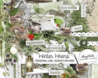 INSTANT DOWNLOAD Winter Wrens - Digital Scrapbook Kit