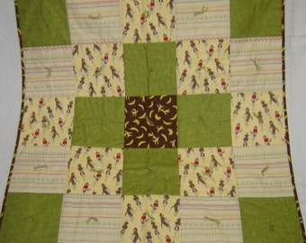 Sock Monkey and Banana Baby Quilt