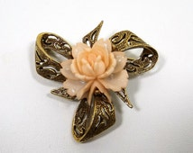 Beautiful Faux Carved Coral Rose Brooch