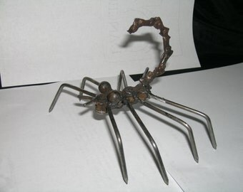metal scorpion from recycled bike chain 5x6 desk, garden, one of kind gift