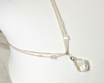 Swarovski Crystal Moonlight Baroque Pendant Double Chain With Swarovski Crystal Cube And Bicone Crystal Accent Necklace