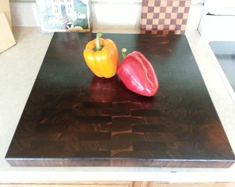 Butcher Block / Chopping Block / Cutting Board, Black Walnut End Grain  with Rounded Edges