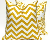 Yellow Pillow Decorative Pillow Covers Throw Pillow Covers Accent Pillow Cushions Chevron Home Decor Spring Decor