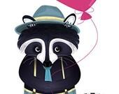 Valentine's Day, Raccoon Illustration, Print, Home Decor, Fine Art by Barbara Szepesi Szucs