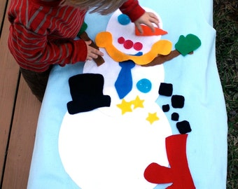 Felt Snowman - Build a Snowman - 3ft tall - Felt Story - Quiet Toys - Quiet Book - Felt Christmas Tree