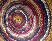 "Old State House Rug Crochet 48"" Rag Rug Round Cotton Washable MATGOFG Kitchen Porch Country Primitive Homespun Red Tan Gold Blue"