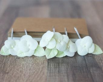 Hydrangea hair clips, hydrangea hair pins, flower hair clips, flower hair pin, bridal flower clip - flower hydrangea bridal hair bobby pins