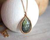 Labradorite Gold Necklace - Long Thin Gold Chain - Gray Gemstone - Boho Jewelry