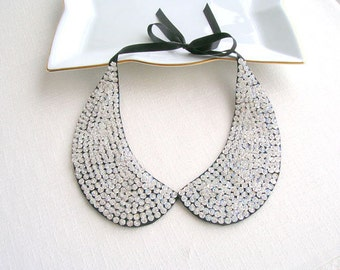 Silver Sequined Collar Necklace, Peter Pan Necklace,  Handicrafts Necklace, Nuray