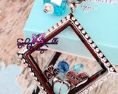 Customized SQUARE Floating Locket on Chain Necklace- Includes one Dangle of your choice and Charms of your choice