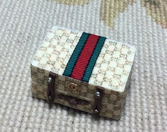Designer Luggage, Suitcase Trunk, Baggage Small - by Pat Tyler Leather Dollhouse Miniatures