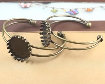 2 pcs raw Brass  plating  antique bronze  bracelet   pendant finding