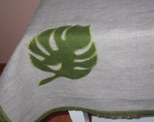 Small organic linen tablecloth washed gray linen topper square table cloth with monster leaves