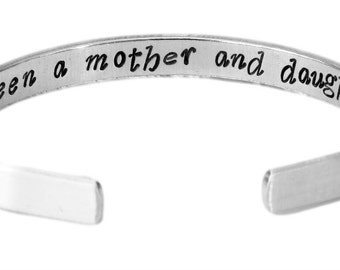 "The Love Between a Mother and Her Daughter Is Forever - Inside Secret Message - Hand Stamped 1/4"" Bracelet - Mother's Day Gift"