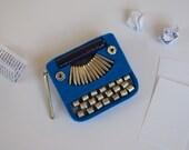 Blue Typewriter Brooch