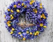 Spring Summer Wreath, Garden Wreath, Wisteria Wreath, Tulips, Purple and Yellow Wreath, Front Door Wreath, Year Round Wreath