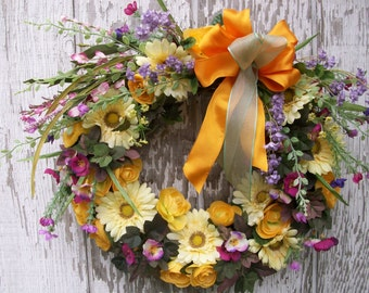 Spring Summer Wreath, Colorful Door Wreath, Daisy Wreath, Country Garden Wreath, Poppy Wreath, Wildflower Wreath, Small Wreath