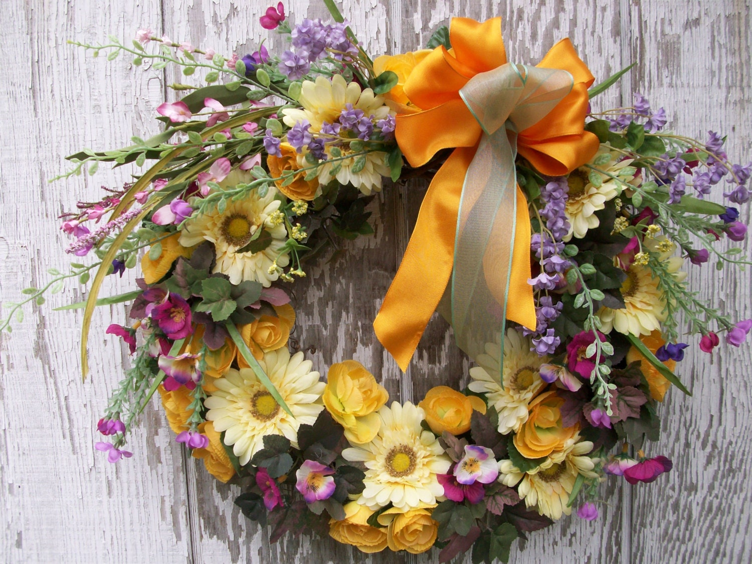 Spring summer wreath colorful door wreath daisy by for Colorful summer wreaths