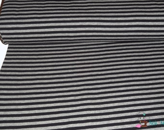 0,5 x 1,45 m cotton knit fabric STRIPES jersey, 95/5% cotton/spandex, black, grey