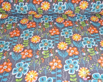 0,5 x 1,60 m cotton knit fabric JOY FLOWERS jersey, 95/5% cotton/spandex, GREY
