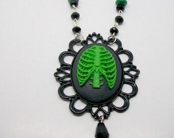 Ribcage Pendant Necklace, Gothic, Gothic Cameo, Malachite