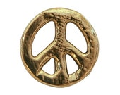 12 Organic Peace Sign 5/8 inch ( 15 mm ) Dill Metal Buttons Gold Color