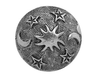2 Sun Moon and Stars 13/16 inch ( 20 mm ) Pewter Metal Buttons