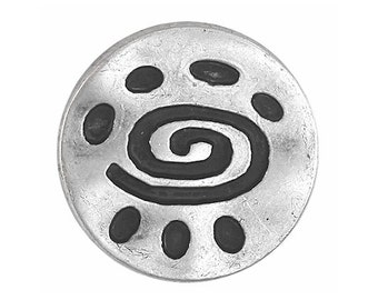 12 Spiral Glyph 11/16 inch ( 18 mm ) Metal Buttons Antique Silver Color