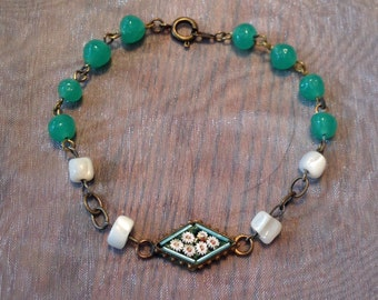 1920's Deco Bracelet Vintage Mosaic Peking Glass MOP Mother Pearl Layering