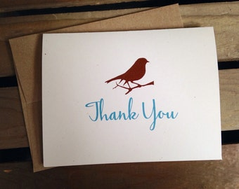 Personalized cards - CUSTOM - sparrow Bird - Stationery - Recycled  - Eco - Thank You - Any Occasion - Set of 8 Notecards - Gift