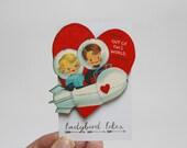Vintage Valentine Space Laser Cut Wooden Brooch