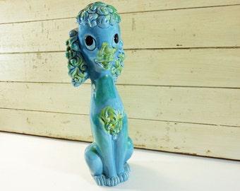 Vintage Ceramic Poodle Large Blue-Green Dog Figurine