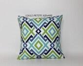 Petite Square 12x12 pillow cover. Ocean blues and green.  Modern diamond geometric design, designer pillows, sofa throw pillows
