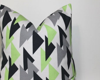 Green and Grey Geometric pillow cover. modern triangle design. home decor throw pillow