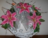 Spring lily wreath--white painted grapevine with pink star-gazer lilies